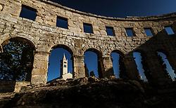 THEMENBILD - die Kirche St. Antonius beim Amphitheater Pula, aufgenommen am 27. Juni 2018 in Pula, Kroatien // the church of St. Anthony at the amphitheater Pula, Croatia on 2018/06/27. EXPA Pictures © 2018, PhotoCredit: EXPA/ JFK
