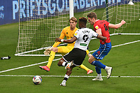 Football - 2020 / 2021 Sly Bet Championship - Swansea City vs Queens Park Rangers - Liberty Stadium<br /> <br /> Jamal Lowe of Swansea City shoots at goal, his shot is blocked by Joe Lumley of QPR<br /> <br /> COLORSPORT/WINSTON BYNORTH