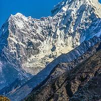 Meredith Wiltsie & 3-year old son Ben trek in the Khumbu Region of Nepal, with Mount Ama Dablam towering in background.