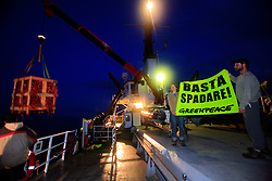 ITALY GIARDINI NAXOS 7MAY08 - Confiscated fishing gear is offloaded from the Greenpeace ship Arctic Sunrise onto a Sicilian fishing boat. Greenpeace pursued the illegal driftnet fishing boat Diomede II to their home port of Giardini Naxos  in Sicily in the Mediterranean Sea...jre/Photo by Jiri Rezac / Greenpeace..© Jiri Rezac 2008..Contact: +44 (0) 7050 110 417.Mobile:  +44 (0) 7801 337 683.Office:  +44 (0) 20 8968 9635..Email:   jiri@jirirezac.com.Web:    www.jirirezac.com..© All images Jiri Rezac 2008 - All rights reserved.
