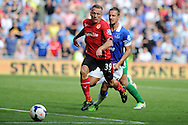 Craig Bellamy of Cardiff city in action. Barclays Premier league, Cardiff city v Everton at the Cardiff city Stadium in Cardiff,  South Wales on Saturday 31st August 2013. pic by Andrew Orchard,  Andrew Orchard sports photography,
