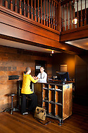 The front check-in desk at The Ace Hotel in downtown Portland, a hip budget boutique hotel.