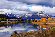 Dramatic light at the Oxbow Bend in the Snake River after an autumn rain storm at Grand Teton National Park, Wyoming, USA