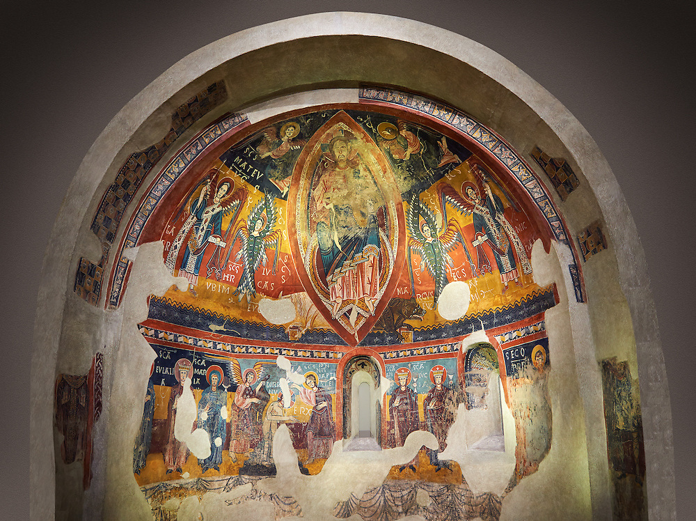 Twelfth century Romanesque frescoes of the Apse of Estaon depicting Christ Pantocrator ( In Majesty) surrounded by Byzantine style angels, and below scenes from the Baptism of Christ, from the church of Sant Eulalia d'Estaon, Vall de Cardos, Catalonia, Spain. National Art Museum of Catalonia, Barcelona. MNAC 15969 .<br /> <br /> If you prefer you can also buy from our ALAMY PHOTO LIBRARY  Collection visit : https://www.alamy.com/portfolio/paul-williams-funkystock/romanesque-art-antiquities.html<br /> Type -     MNAC     - into the LOWER SEARCH WITHIN GALLERY box. Refine search by adding background colour, place, subject etc<br /> <br /> Visit our ROMANESQUE ART PHOTO COLLECTION for more   photos  to download or buy as prints https://funkystock.photoshelter.com/gallery-collection/Medieval-Romanesque-Art-Antiquities-Historic-Sites-Pictures-Images-of/C0000uYGQT94tY_Y