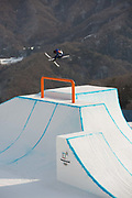 James Woods Great Britain during the mens ski slopestyle practice at the Pyeongchang Winter Olympics on 18th February 2018 at Phoenix Snow Park in South Korea