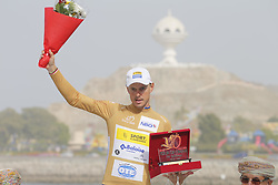 February 21, 2019 - Matrah Corniche, OMAN - Belgian Preben Van Hecke of Sport Vlaanderen-Baloise, winner of the Most Aggressive Rider Classification celebrates on the podium of the sixth stage of the Oman cycling Tour 2019, 135,5 km from Al Mouj Muscat to Matrah Corniche, Oman, Thursday 21 February 2019. This years Tour of Oman is taking place from 16 to 21 February...BELGA PHOTO YUZURU SUNADA FRANCE OUT (Credit Image: © Yuzuru Sunada/Belga via ZUMA Press)