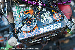 Dave Sutherland's cool bike from Orlando, FL in his campground by the Cabbage Patch during Daytona Bike Week. FL, USA. March 12, 2014.  Photography ©2014 Michael Lichter.