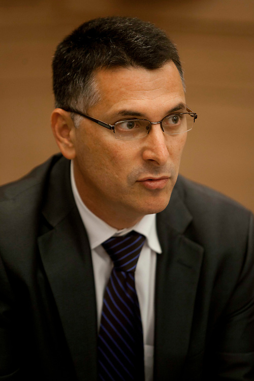 Israel's Minister of Education Gideon Sa'ar attends a session of the Committee on the Status of Women at the Knesset, Israel's parliament in Jerusalem, on June 4, 2012.