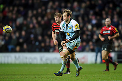 Northampton Fly-Half (#10) Stephen Myler passes the ball during the second half of the match - Photo mandatory by-line: Rogan Thomson/JMP - Tel: Mobile: 07966 386802 30/12/2012 - SPORT - RUGBY - stadiummk - Milton Keynes. Saracens v Northampton Saints - Aviva Premiership.