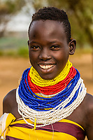 Young Kara tribe woman, Omo Valley, Ethiopia.