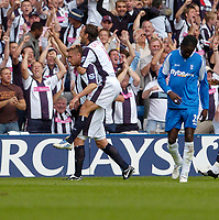 Photo: Leigh Quinnell.<br /> West Brom v Birmingham City. The Barclays Premiership.<br /> 27/08/2005.Geoff Horsfeild celebrates his goal for West Bromwith Jonathan Greening.