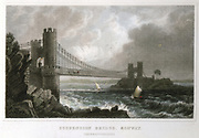 Conwy suspension bridge over Conwy estuary, Wales, part of the great London-Holyhead road. First stone laid 3 April 1822, finished summer 1826. Built by Thomas Telford (1757-1834), Scottish Civil engineer. Engraving c1840.