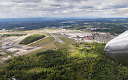 """A view of Stewart International Airport from the B-25 Mitchell Bomber """"Panchito"""" on Aug. 27, 2015. The World War II bomber is at Stewart for the New York Air Show on Aug. 29-30."""