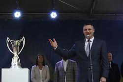 April 21, 2018 - Kiev, Ukraine - Kyiv City Mayor Vitalii Klitschko has a speech during the ceremony of Cups passing in Kyiv, Ukraine, April 21,   2018.  UEFA's Champions League and Women Champions League Cups arrive in Kyiv, amid Ukraine's preparations to host UEFA Champions League and UEFA Women Champions League Finals. (Credit Image: © Sergii Kharchenko/NurPhoto via ZUMA Press)