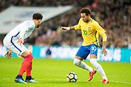 Brazil (10) Neymar, England (2) Kyle Walker during the International Friendly match between England and Brazil at Wembley Stadium, London, England on 14 November 2017. Photo by Sebastian Frej.