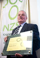 Rudi Zavrl awarded by Slovenian football federation (NZS) when he became a Honorable president of NZS, on May 7, 2009, in Hotel Kokra, Brdo at Kranj, Slovenia.  (Photo by Vid Ponikvar / Sportida)