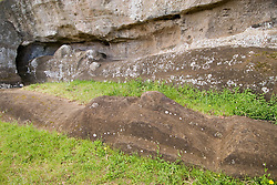 Chile, Easter Island: Sculptures at the quarry Rano Raraku where all the large sculptures were carved..Photo #: ch262-33742.Photo copyright Lee Foster www.fostertravel.com lee@fostertravel.com 510-549-2202