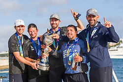 Taylor Canfield and his Stars+Stripes Team USA crew with the Match Racing World Championship Trophy. <br /> Bermuda Gold Cup and Open Match Racing World Championship. Royal Bermuda Yacht Club, Hamilton, Bermuda. Day Five. 30th October 2020.