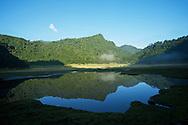 Small, beautiful peaks surround the Songluohu.