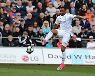 Jordan Ayew of Swansea city in action. .Premier league match, Swansea city v Middlesbrough at the Liberty Stadium in Swansea, South Wales on Sunday 2nd April 2017.<br /> pic by Andrew Orchard, Andrew Orchard sports photography.