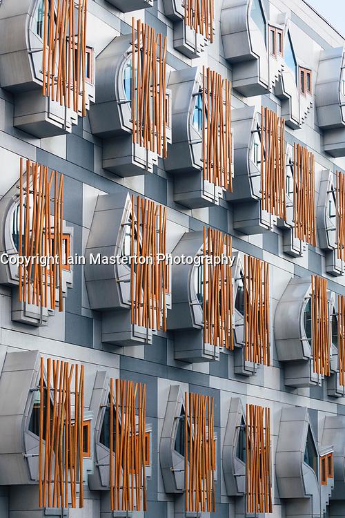 Detail of exterior windows of the Scottish Parliament building in Holyrood,Edinburgh, Scotland, united Kingdom.