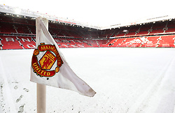 Snow on the pitch ahead of the Emirates FA Cup, quarter final match at Old Trafford, Manchester.