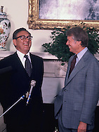 President Carter and Henry Kissinger in the Oval Office in August 1977,<br /> Photo by Dennis Brack
