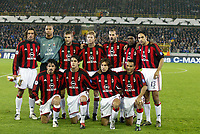 Fotball, 4. november 2003, Champions League,, Club Brugge ( Brügge )-Milan 0-1,  lagbilde Milan, startoppstilling, lag