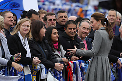 The Duchess of Cambridge speaks with supporters during a visit to Leicester City Football ClubÕs King Power Stadium to pay tribute to those who were killed in the helicopter crash last month.