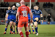 Sale Sharks centre Sam James kicks for touch during a Gallagher Premiership Rugby Union match Sale Sharks -V- Leicester Tigers, won by Sale 36-3 on Friday, Feb. 21, 2020, in Eccles, United Kingdom. (Steve Flynn/Image of Sport via AP)