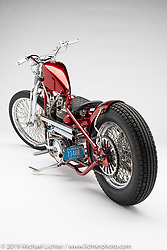 Red Devil, a custom motorcycle built from a 1975 Shovelhead, by Richard Ruck. Photographed by Michael Lichter in Charlotte, SC, USA on 1/24/19. ©2019 Michael Lichter.