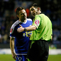 Photo: Steve Bond/Richard Lane Photography. Leicester City v Peterborough United. Coca-Cola Football League One. 20/12/2008. Paul Dickov (L) argues with ref Lee Probert