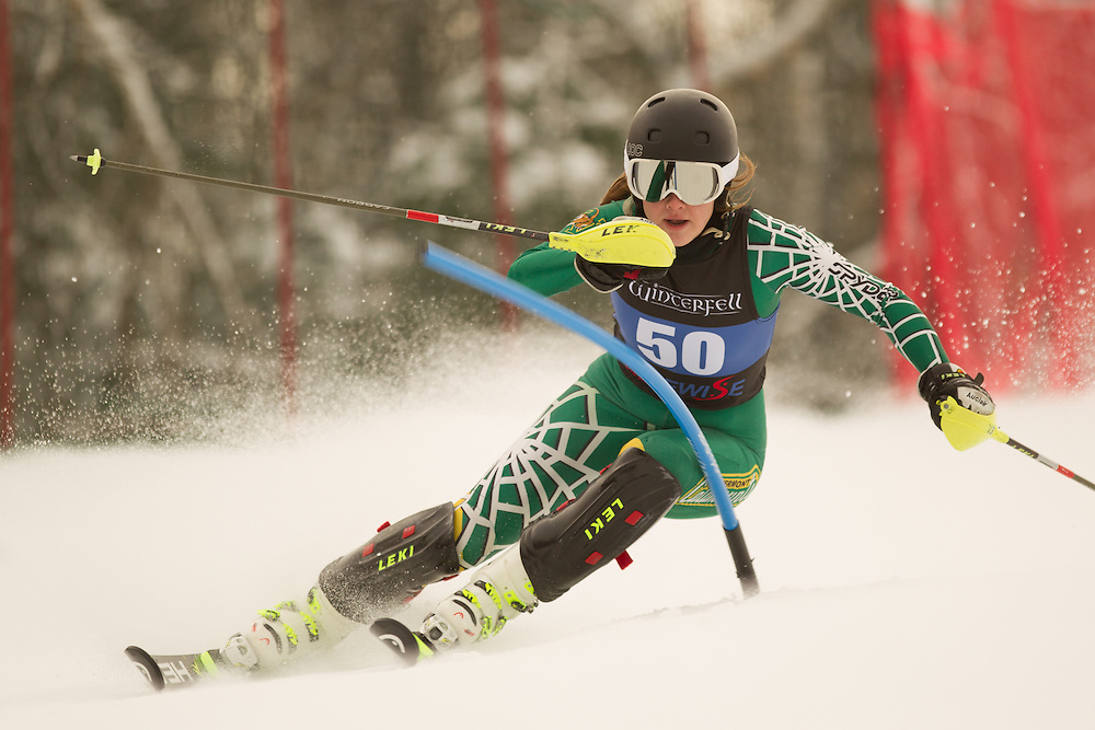 Celine Rytz of the University of Vermont, skis during the first run of the women's slalom at the Colby College Carnival at Sugarloaf Mountain on January 18, 2014 in Carabassett Valley, ME. (Dustin Satloff/EISA)