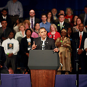 The President Barack Obama signals with a finger while delivered his message to the crown today in Boston.