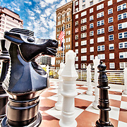 Up close look at an oversized Knight chess piece on the roof of the Central Branch Library in downtown Kansas City, Missouri.