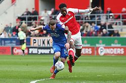 Jack Marriott of Peterborough United battles with Semi Ajayi of Rotherham United - Mandatory by-line: Joe Dent/JMP - 30/03/2018 - FOOTBALL - Aesseal New York Stadium - Rotherham, England - Rotherham United v Peterborough United - Sky Bet League One