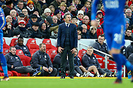 Leicester City Manager Claude Puel shouts instructions. Premier League match, Liverpool v Leicester City at the Anfield stadium in Liverpool, Merseyside on Saturday 30th December 2017.<br /> pic by Chris Stading, Andrew Orchard sports photography.