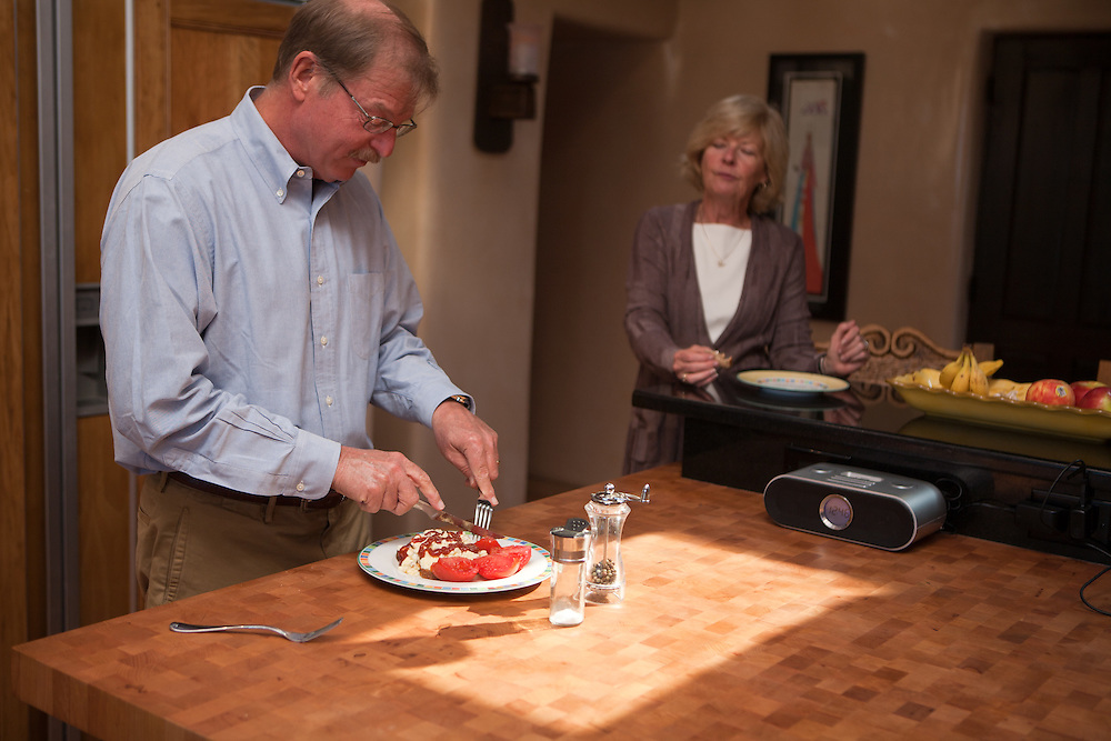 Former Merrill Lynch executive James A. Brown and his wife Nancy eat a late breakfast at their Santa Fe New Mexico home on October 15, 2010...Credit: Steven St. John for The Wall Street Journal.ENRON