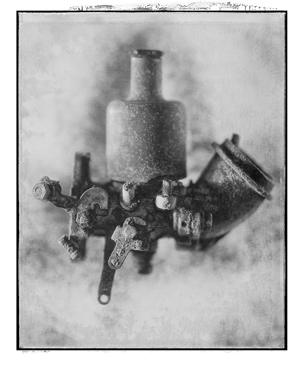 Solaroid - Metal Morphosing -SU Carburettor 1 - This is a solarised polaroid photo art print by Paul Williams who invented the technique and is the only photographer to have used it. The process is sadly no longer possible. Circa 1989, .<br /> <br /> Visit our FINE ART PHOTO  PRINT COLLECTIONS for more wall art photos to browse https://funkystock.photoshelter.com/gallery-collection/Fine-Art-Photo-Prints-by-Photographer-Paul-Williams/C0000UM829OLMVv8 .