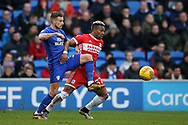 Joe Bennett of Cardiff city (l) challenges Adama Traore of Middlesbrough.EFL Skybet championship match, Cardiff city v Middlesbrough at the Cardiff city Stadium in Cardiff, South Wales on Saturday 17th February 2018.