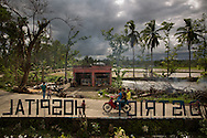 Broken trees litter the ground in front of the Tapaz District Hospital, hit hard by Typhoon Yolanda (aka Typhoon Haiyan) in the province of Capiz on Panay Island, Philippines.