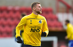 """Alfie Kilgour of Bristol Rovers up with """" Thank You NHS """" tops on   - Mandatory by-line: Alex James/JMP - 21/11/2020 - FOOTBALL - County Ground - Swindon, England - Swindon Town v Bristol Rovers - Sky Bet League One"""