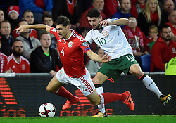 October 9, 2017 - Cardiff, Pays de Galles - Wales' Ben Davies in action with Republic of IrelandÃ•s Robbie Brady (Credit Image: © Panoramic via ZUMA Press)