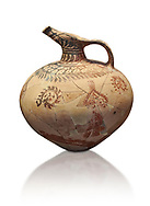 Mycenaean clay jug with ornate decoration of vegetal motifs, Tholos tomb 2 , Myrsinochori, Messenia, 15th cent BC. National Archaeological Museum Athens. Cat No 8375. White Background. .<br /> <br /> If you prefer to buy from our ALAMY PHOTO LIBRARY  Collection visit : https://www.alamy.com/portfolio/paul-williams-funkystock/mycenaean-art-artefacts.html . Type -   Athens    - into the LOWER SEARCH WITHIN GALLERY box. Refine search by adding background colour, place, museum etc<br /> <br /> Visit our MYCENAEN ART PHOTO COLLECTIONS for more photos to download  as wall art prints https://funkystock.photoshelter.com/gallery-collection/Pictures-Images-of-Ancient-Mycenaean-Art-Artefacts-Archaeology-Sites/C0000xRC5WLQcbhQ