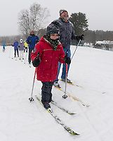 """Bob Bolduc gets a chuckle out out of Ilan Avrahami as he expresses that """"he is ready for the hills"""" during week two of his cross country lessons at Bolduc Park offered by the Gilford Parks and Recreation department Saturday morning.    (Karen Bobotas/for the Laconia Daily Sun)"""