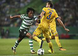 October 31, 2017 - Lisbon, Portugal - Sporting's forward Gelson Martins (L) vies with Juventus's defender Giorgio Chiellini during the Champions League  football match between Sporting CP and Juventus FC at Jose Alvalade  Stadium in Lisbon on October 31, 2017. (Credit Image: © Carlos Costa/NurPhoto via ZUMA Press)