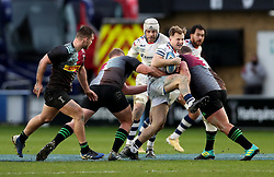 Ioan Lloyd of Bristol Bears is tackled by Jordan Els (1) and Wilco Louw of Harlequins - Mandatory by-line: Matt Impey/JMP - 26/12/2020 - RUGBY - Twickenham Stoop - London, England - Harlequins v Bristol Bears - Gallagher Premiership Rugby