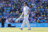 Ben Stokes of England is dismissed for 0, caught by Michael Clarke captain of Australia, bowler Nathan Lyon of Australia during the third day of the 5th Investec Ashes Test match between England and Australia at The Oval, London, United Kingdom on 22 August 2015. Photo by Ellie Hoad.