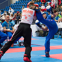 Gold medalist Paulina Jarzmik (L) of Poland and silver medalist Luna Mendy (R) of Italy fight in the 2 LC 041 S F -60 kg final at the WAKO (World Association of Kickboxing Organizations) World Kick-boxing Championships in Budapest, Hungary on Nov. 10, 2017. ATTILA VOLGYI