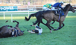 Voix Du Reve ridden by Paul Townend falls at the last fence in the Frank Ward Solicitors Arkle Novice Chase leaving Le Richebourg ridden by Mark Walsh (far) to win during day one of the Dublin Racing Festival at Leopardstown Racecourse.